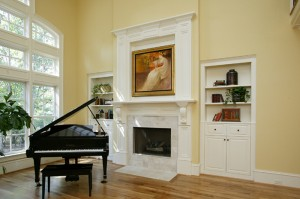 Custom Fireplace Mantle and Built-In Bookcases